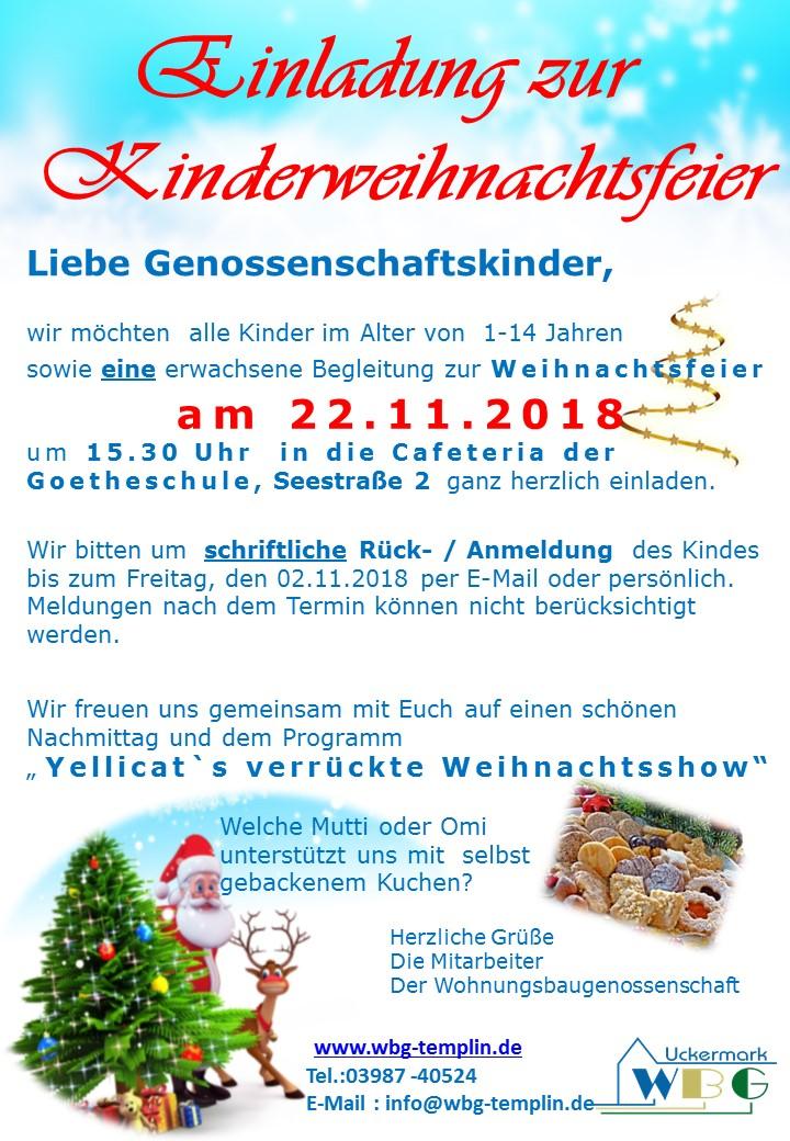 Weihnachtsfeier für Genossenschaftskinder